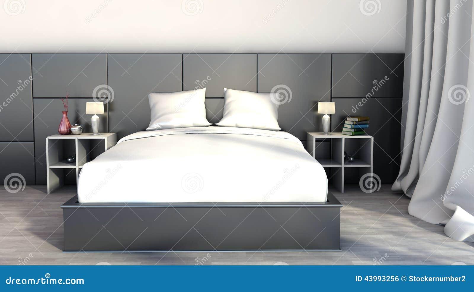 Svartvit färg i sovrummet stock illustrationer   bild: 43993256