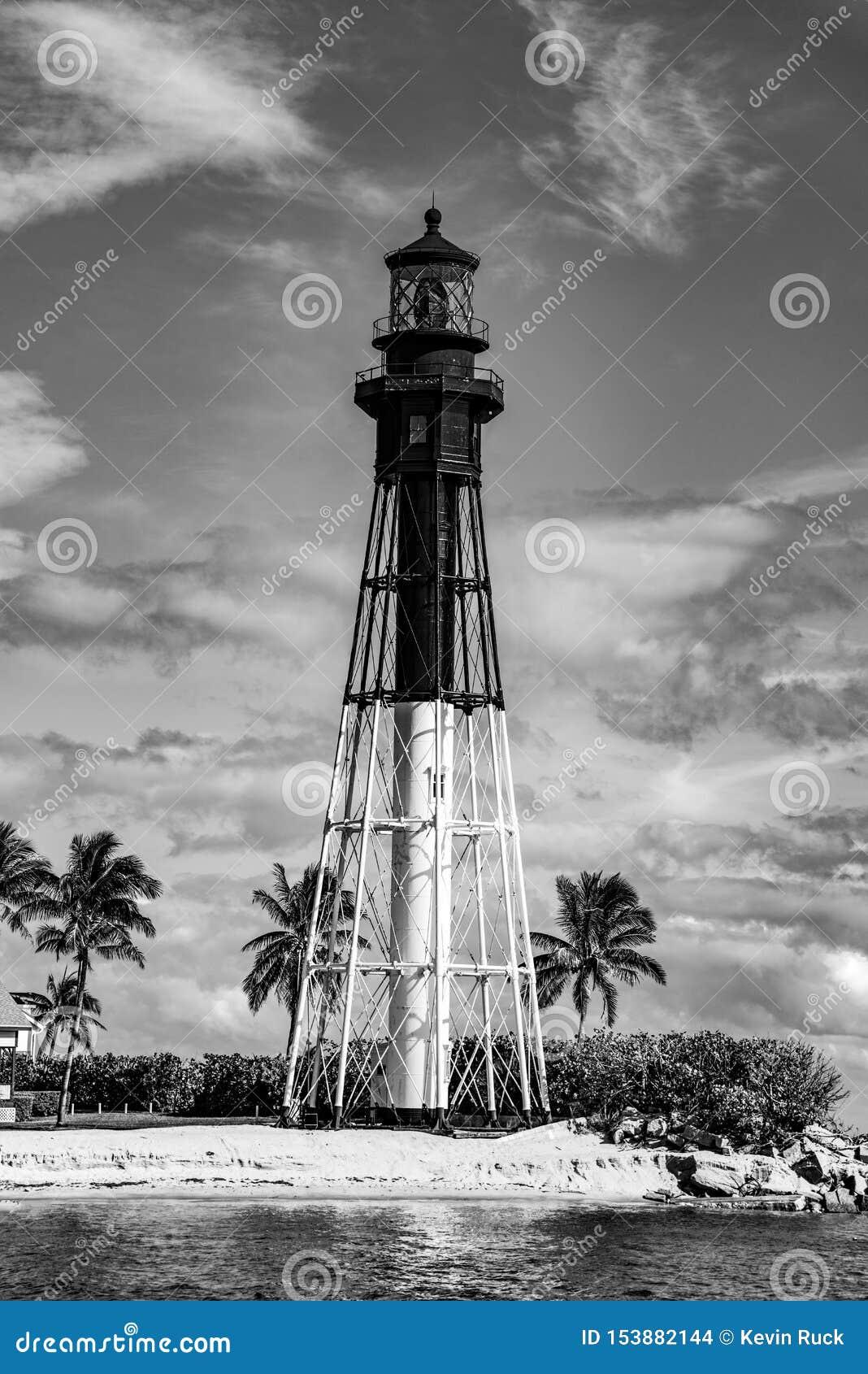 Svartvit fyr i Fort Lauderdale, Florida, USA