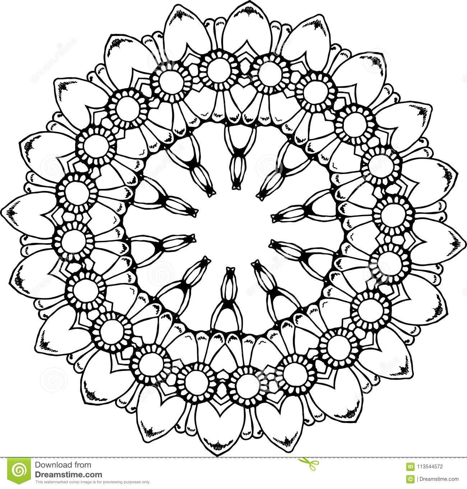 Svartvit illustration av en mandala - en blomma av liv kosmiskt avstånd