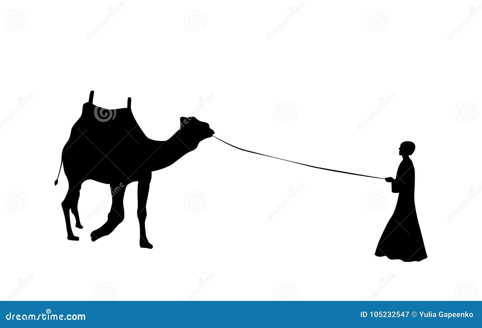 Svartvit kontur av en kamel med en beduin också vektor för coreldrawillustration