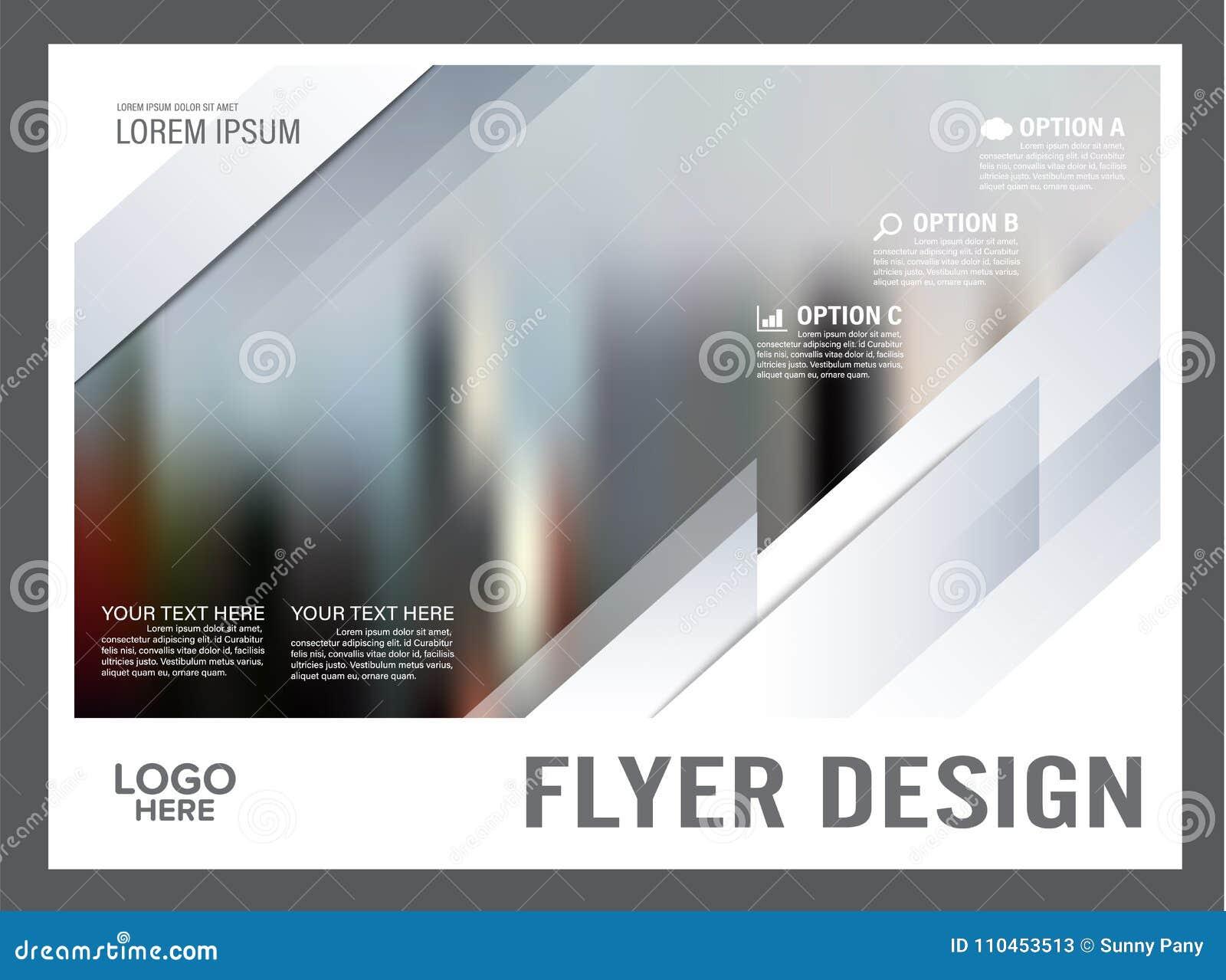 Svartvit mall för broschyrorienteringsdesign _