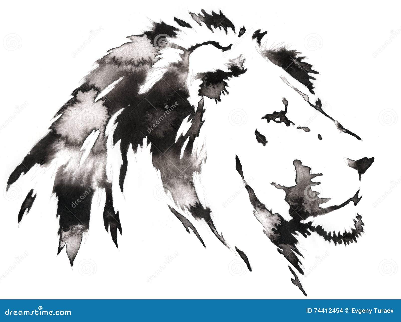 Svartvit monokrom målning med vatten och färgpulver drar lejonillustrationen