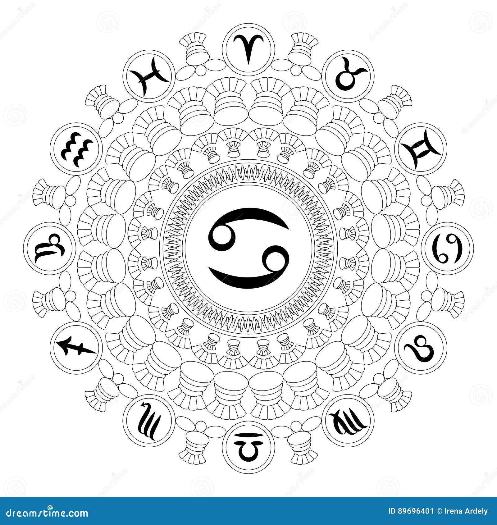 Svartvit rund mandala för vektor med zodiaksymbol av cancer - vuxen sida för färgläggningbok