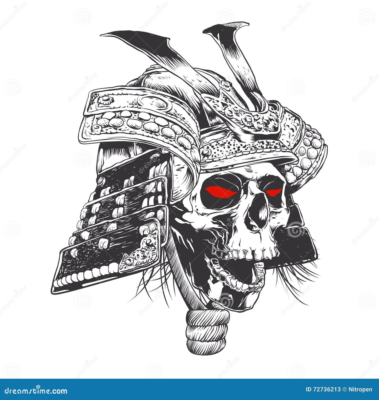 Svartvit samurajhjälm med skallen