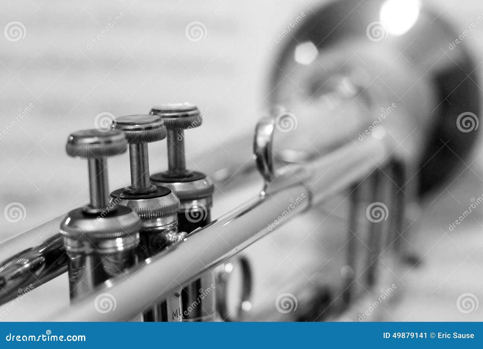Svartvit trumpet med ut ur fokusnotblad