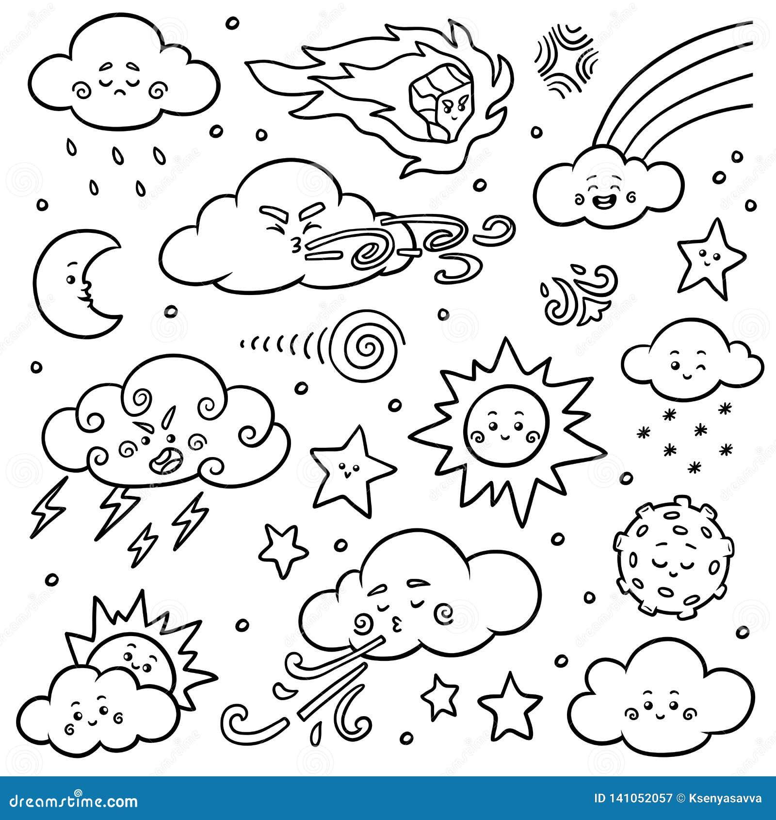 Svartvit uppsättning av naturobjekt Vektortecknad filmsamling av vädersymboler