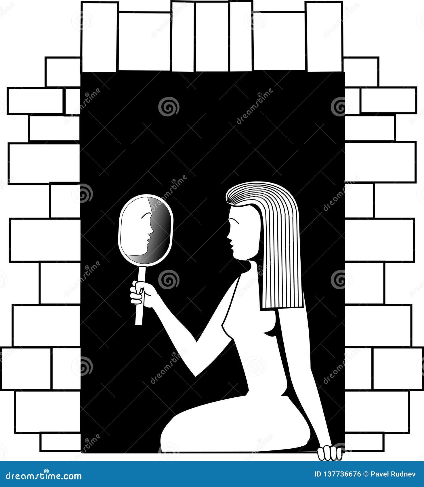 Svartvit vektorbild en flicka som sitter på ett fönster och ser i en spegel