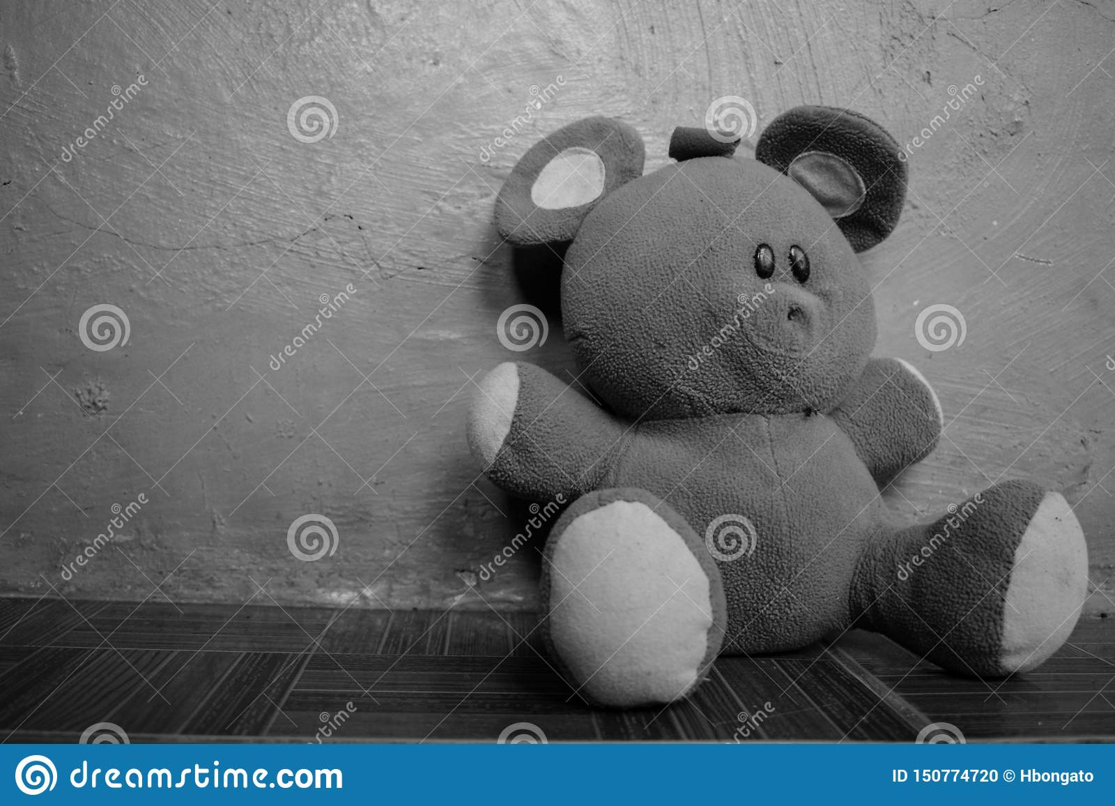 Svartvita mjuka fluffiga Teddy Bear Left Laying On golvet
