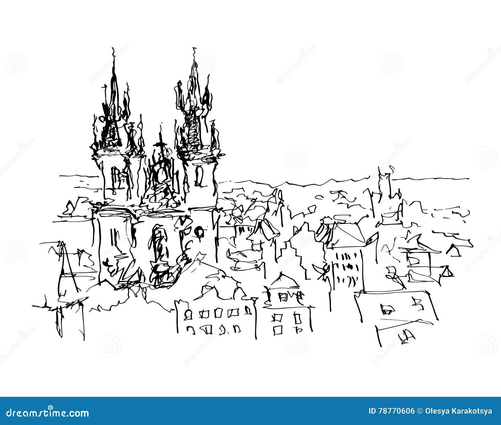 Svartvitt färgpulver skissar linjen teckning av Prague gammal stadöverkant c