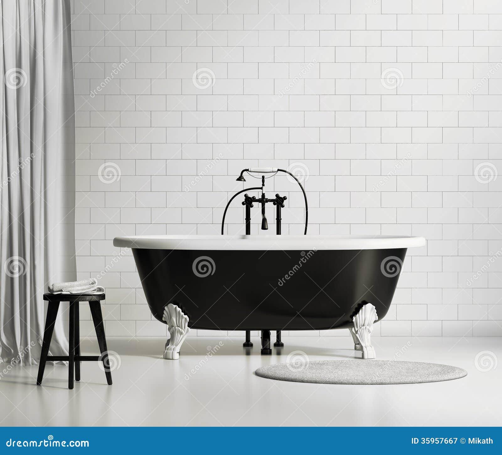 Svartvitt klassiskt badkar