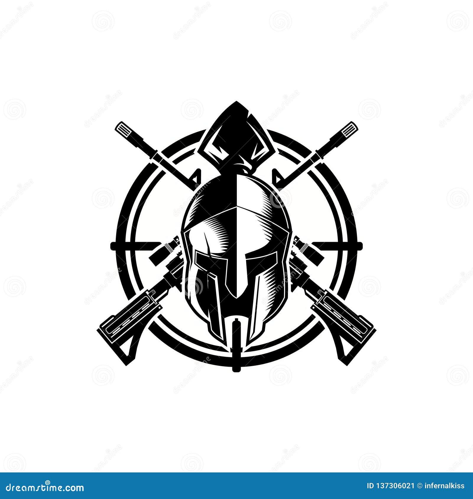 Svartvitt spartanskt med croshair- och gevärvektormallen