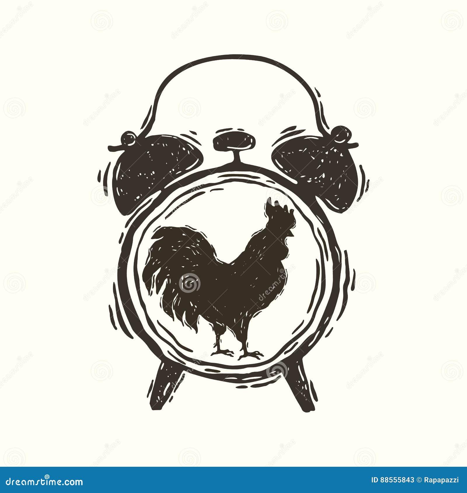 Sveglia Con Il Gallo Illustrazione Vettoriale Illustrazione Di