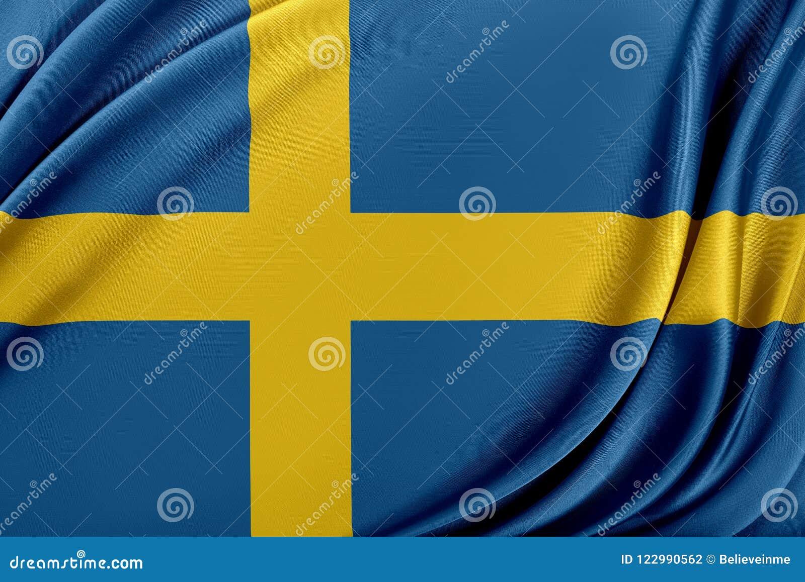 Sverige flagga med en glansig siden- textur