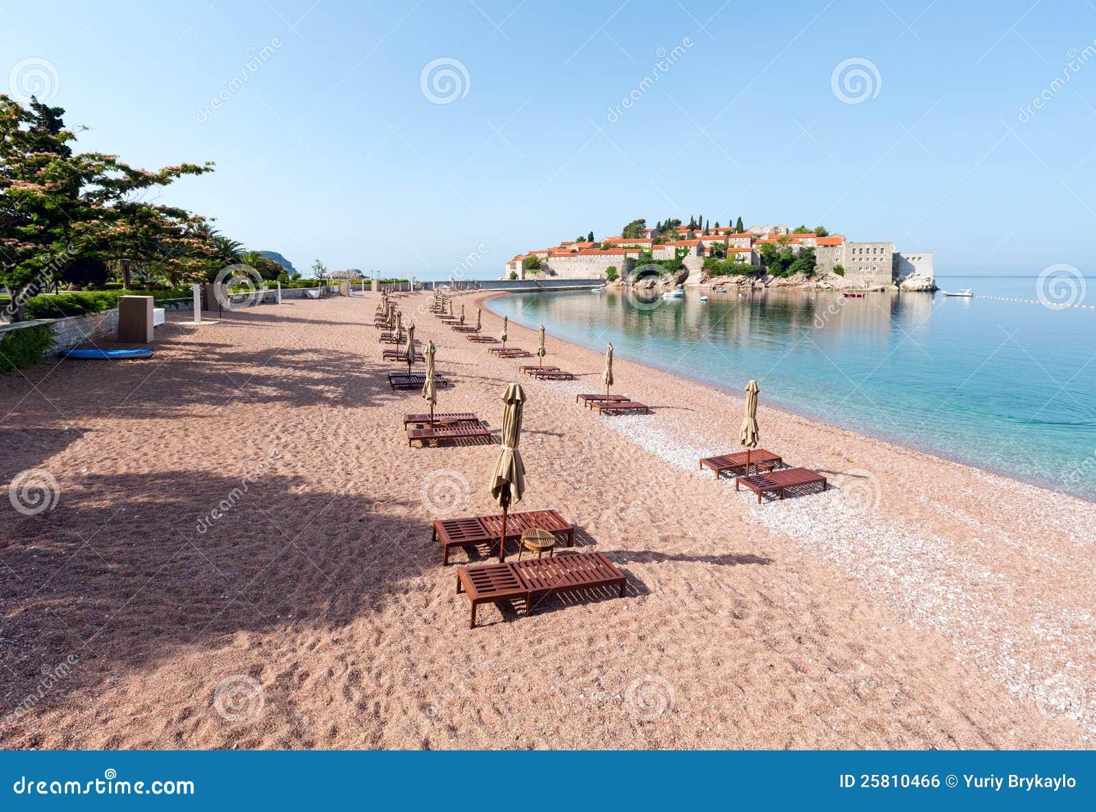 Sveti Stefan Sea Islet And BeachMontenegro Stock Photo Image of