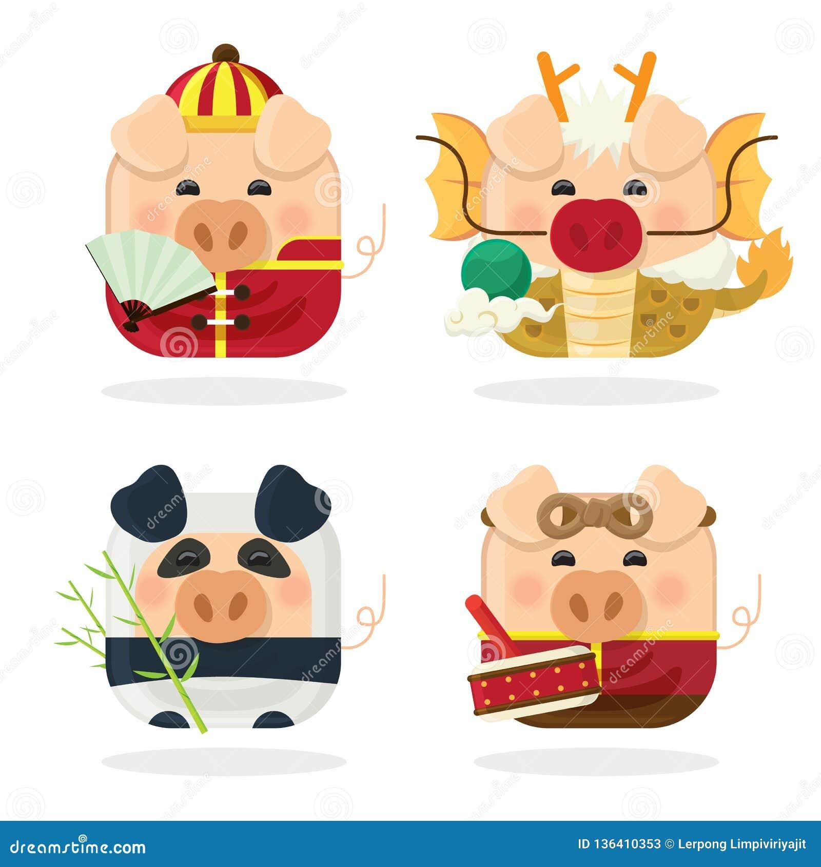 Svin och kinesiskt nytt år 2019 för symbolsuppsättning fyra med det gulliga piggy tecknad filmteckenet