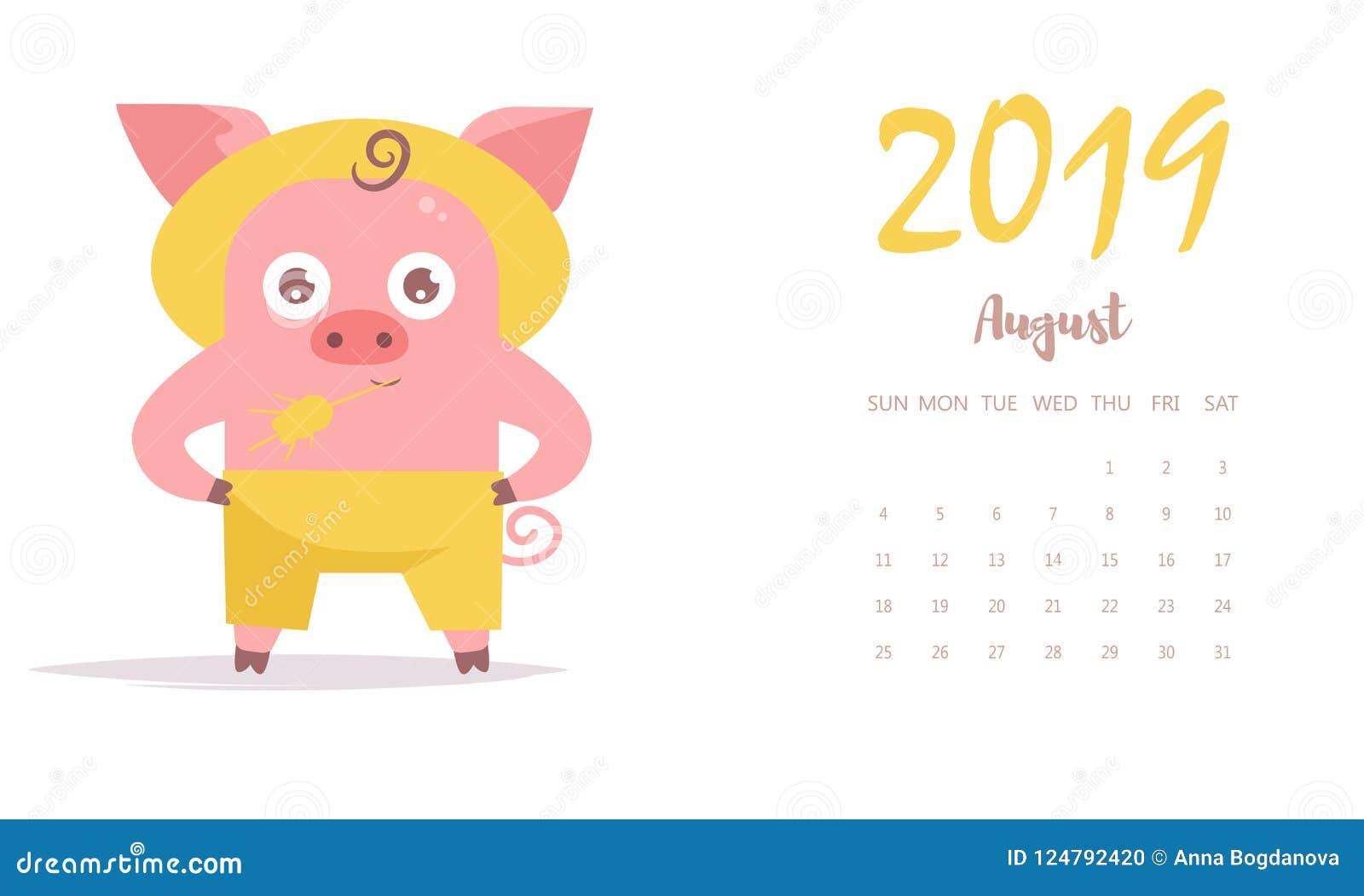 Svinbonde i hatt och med vektorn cartoon isolerat Augusti 2019 kalender plant