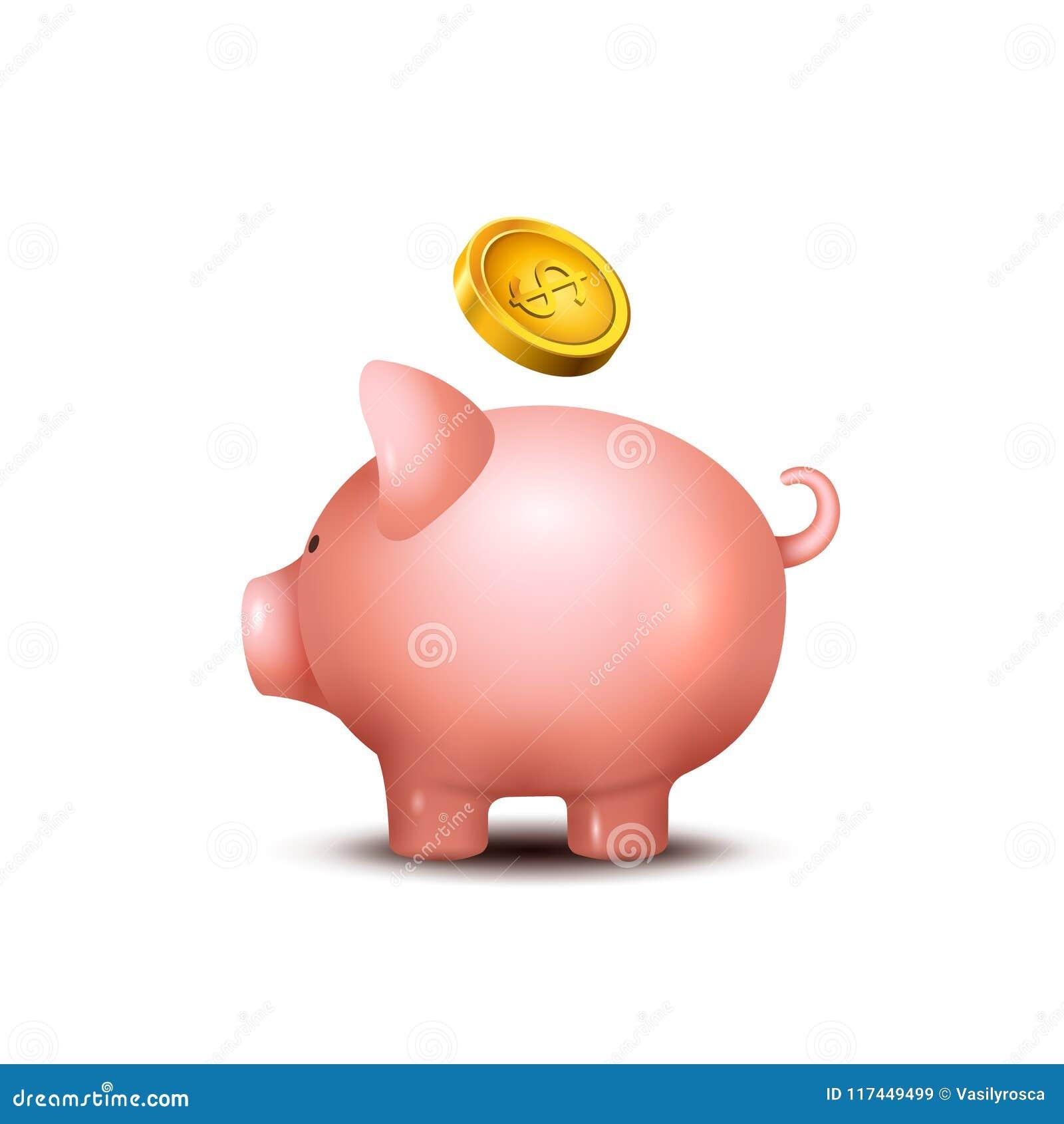 Svinsparbössa Piggy symbol för pengarräddningbank Svinleksak för mynt som sparar askbegrepp Rikedominsättning