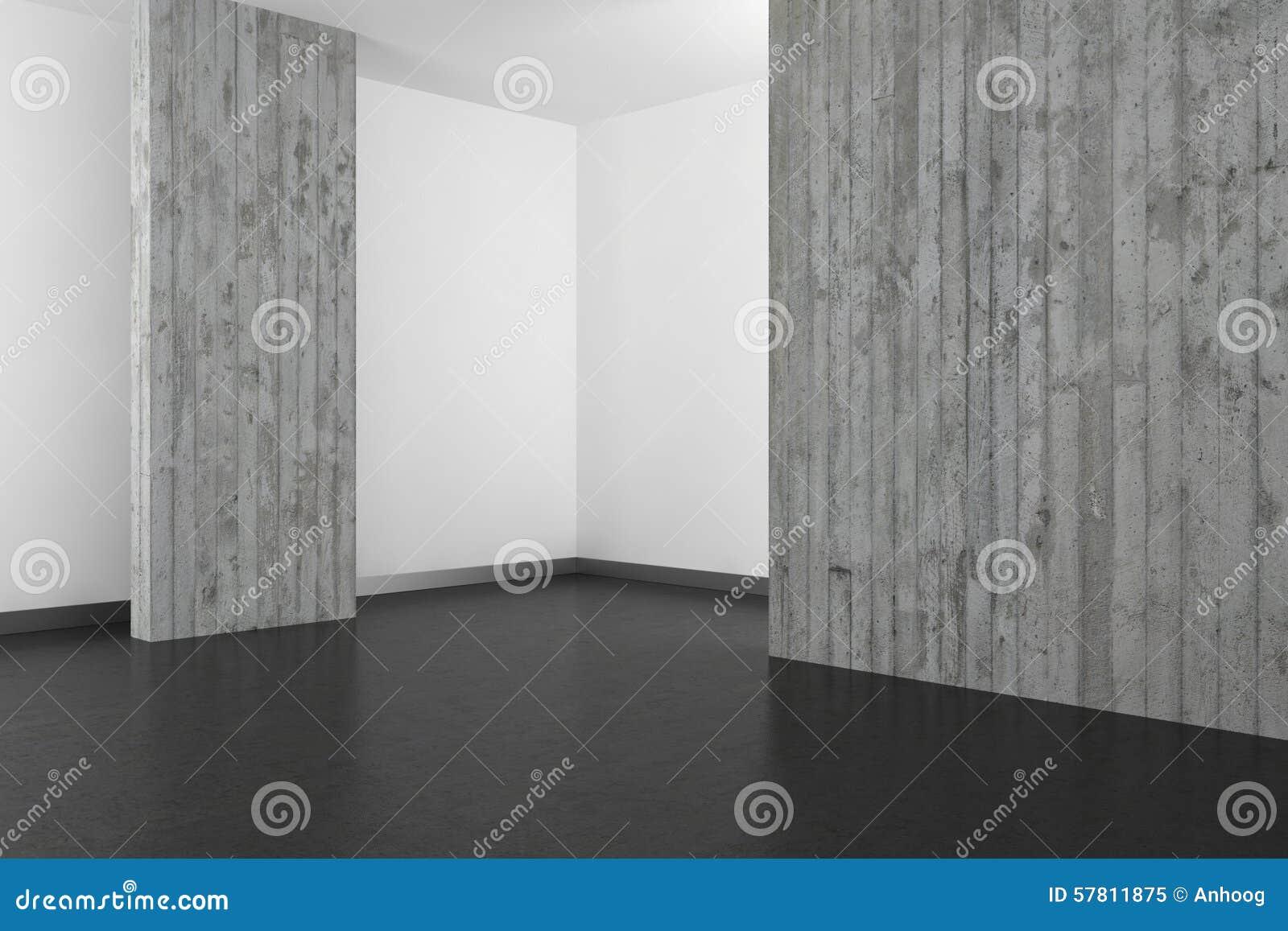 Svuoti il bagno moderno con il muro di cemento ed il pavimento