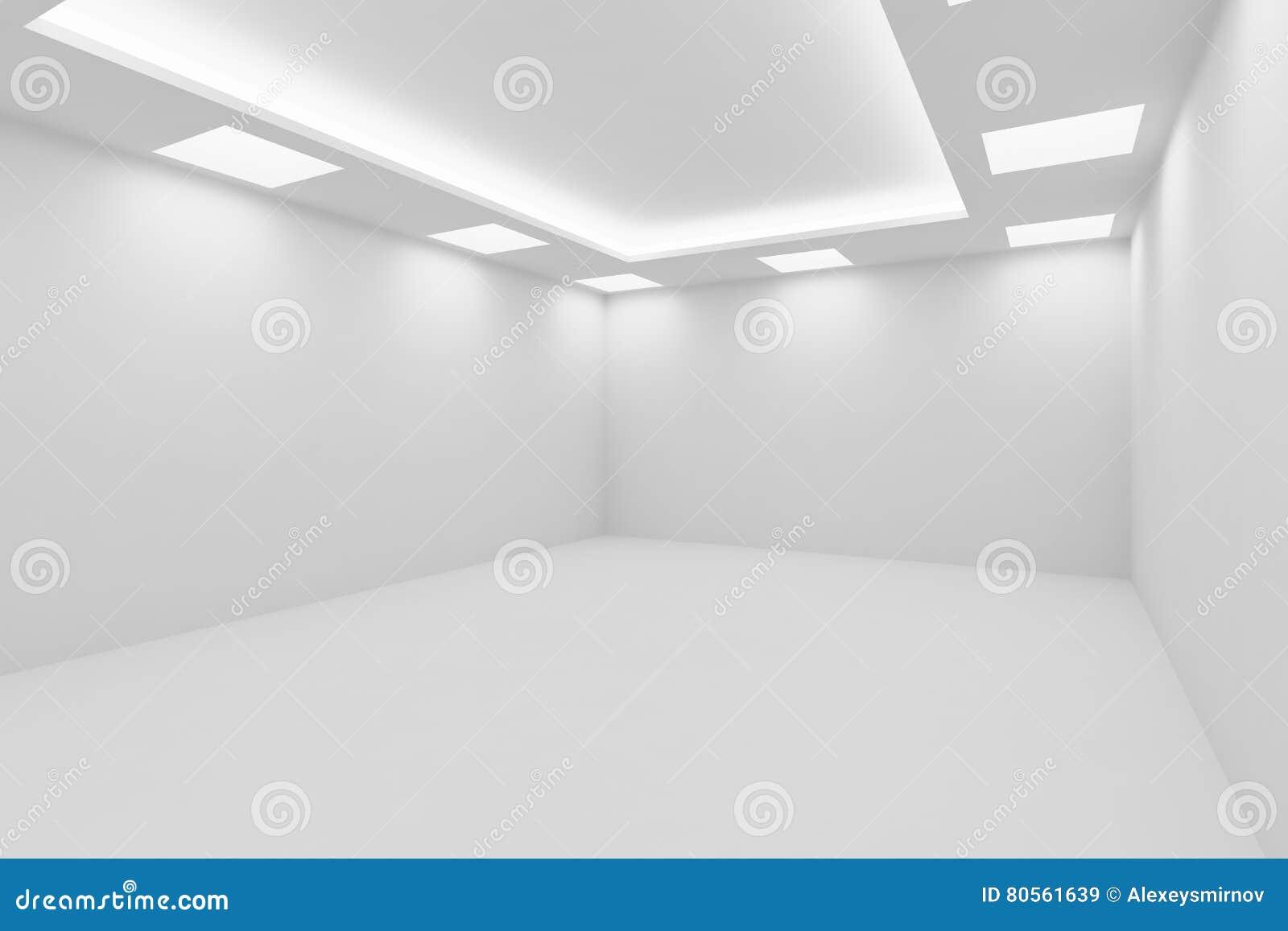 Plafoniere Quadrata : Svuoti la stanza bianca con vista quadrata delle plafoniere dall