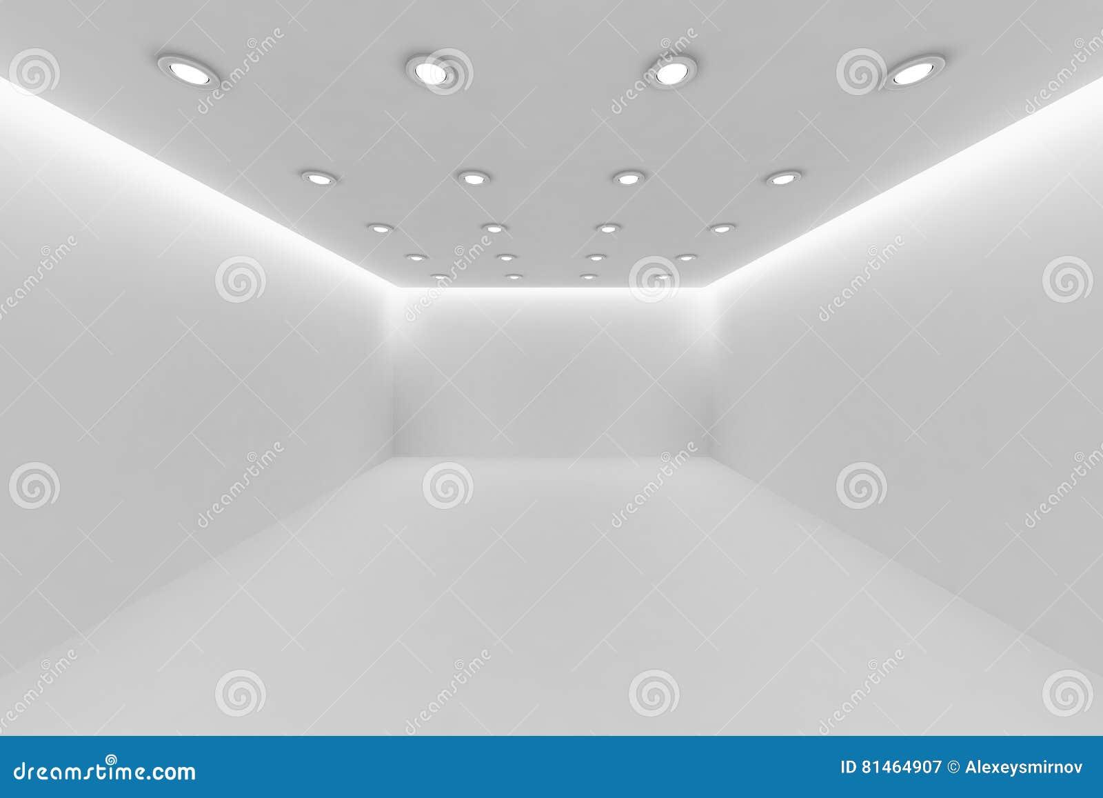 Plafoniere Da Soffitto Rotonde : Svuoti la stanza bianca con le piccole lampade rotonde del