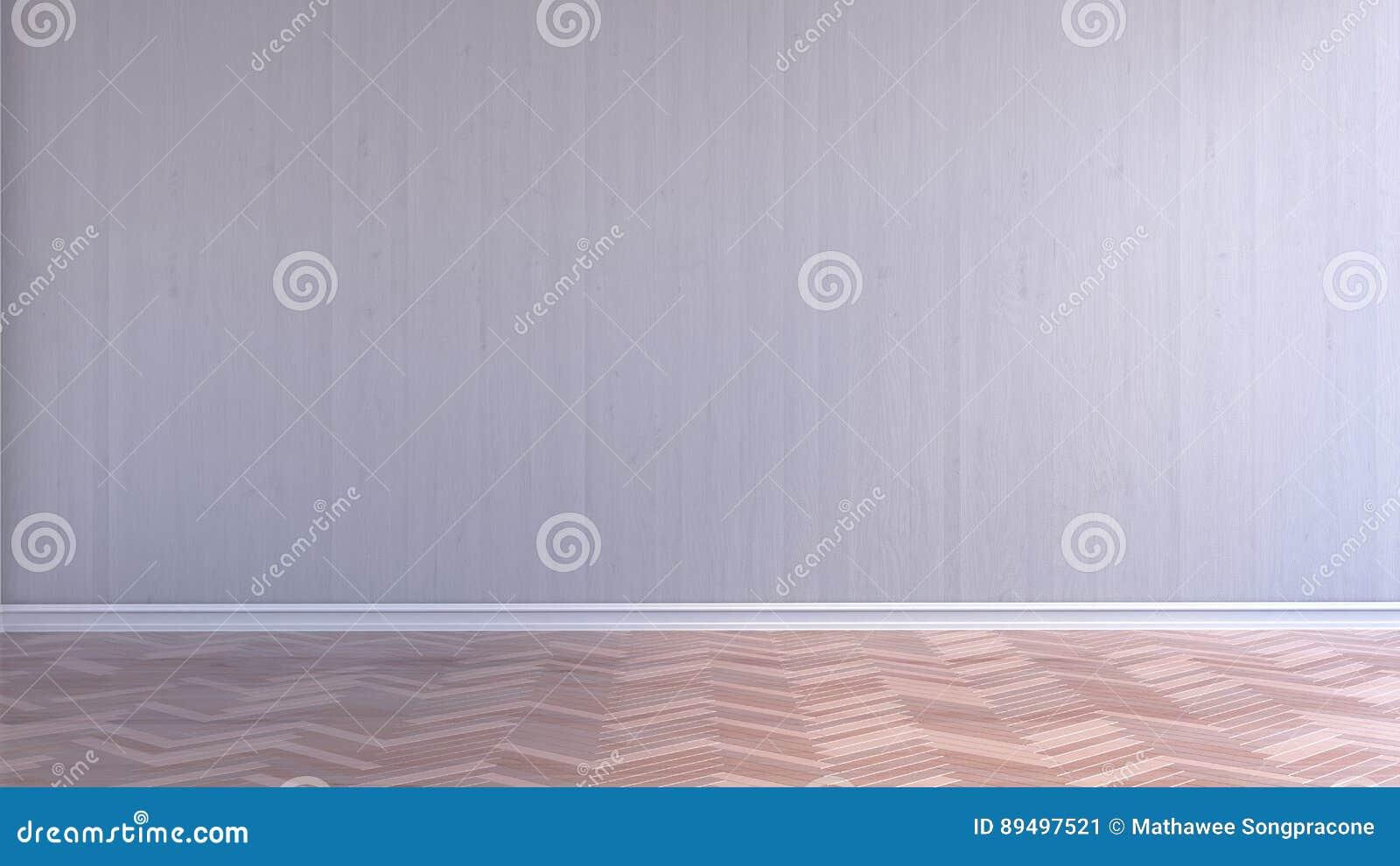 Pareti In Legno Bianco : Svuoti la stanza interna con il pavimento di parquet di legno
