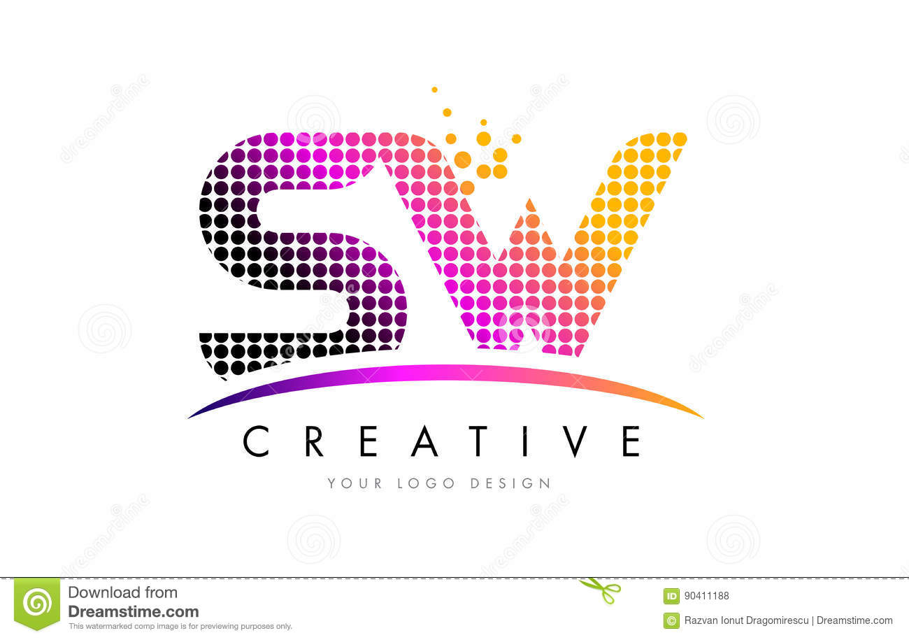 SW S W Letter Logo Design With Magenta Dots And Swoosh Stock Vector