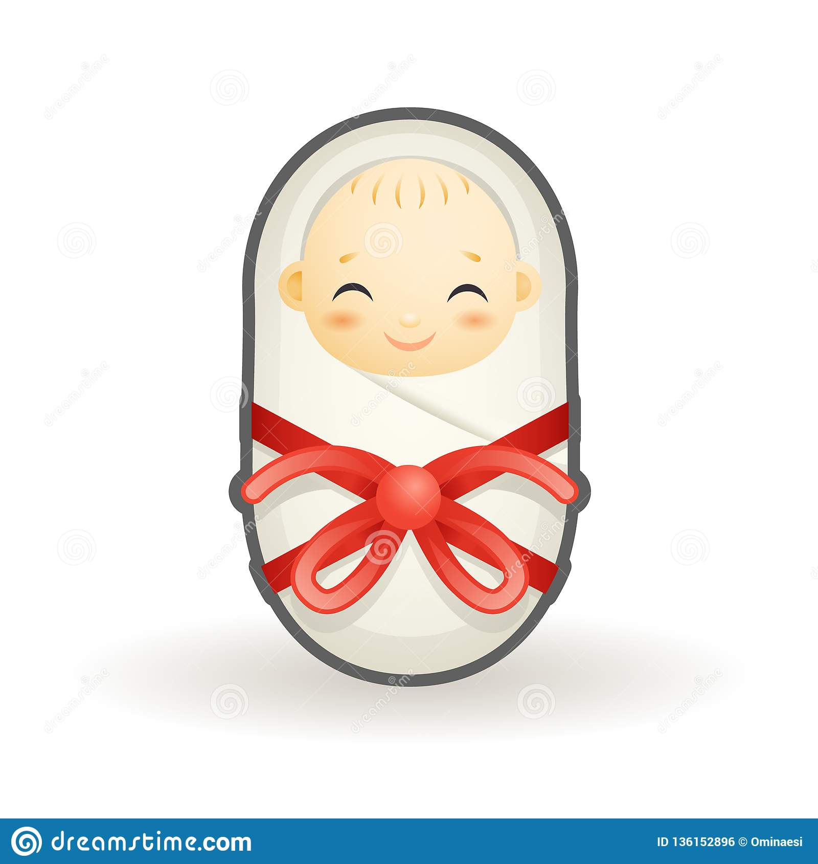 Swaddled Newborn Cute Smiling Happy Sleeping Baby Cartoon Design Vector Illustration Stock Vector Illustration Of Blanket Innocence 136152896
