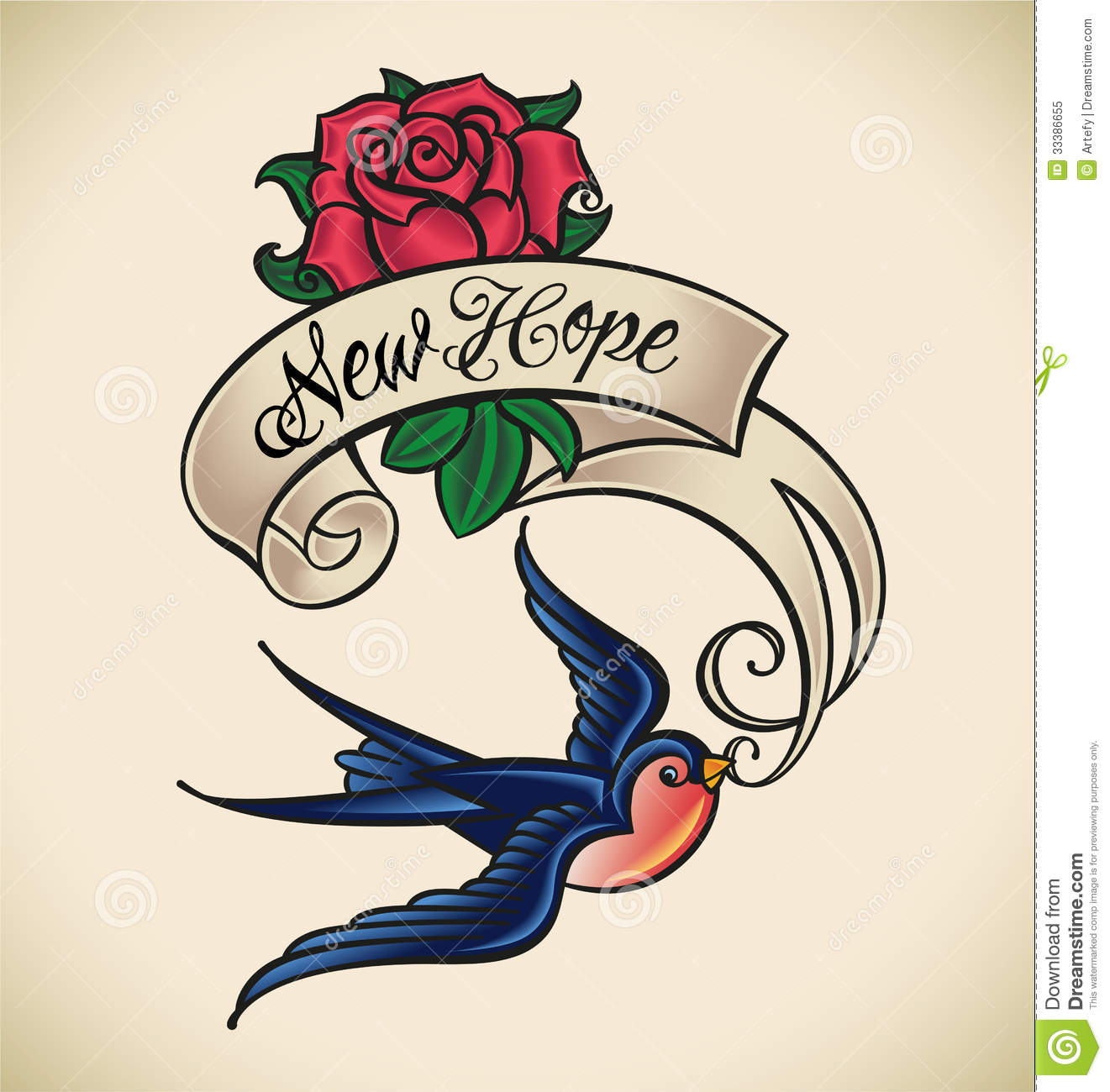 Swallow Brings New Hope Old School Styled Tattoo With A Banner And