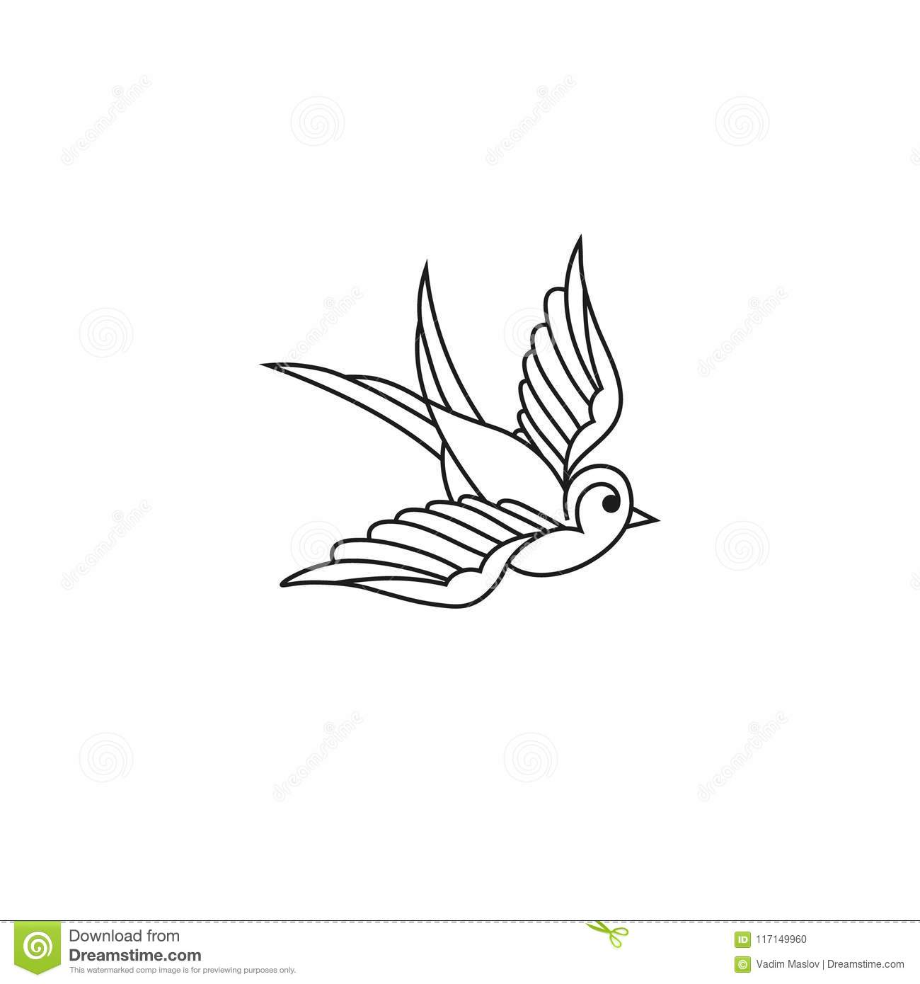 swallow line icon isolated on white background vintage tattoo
