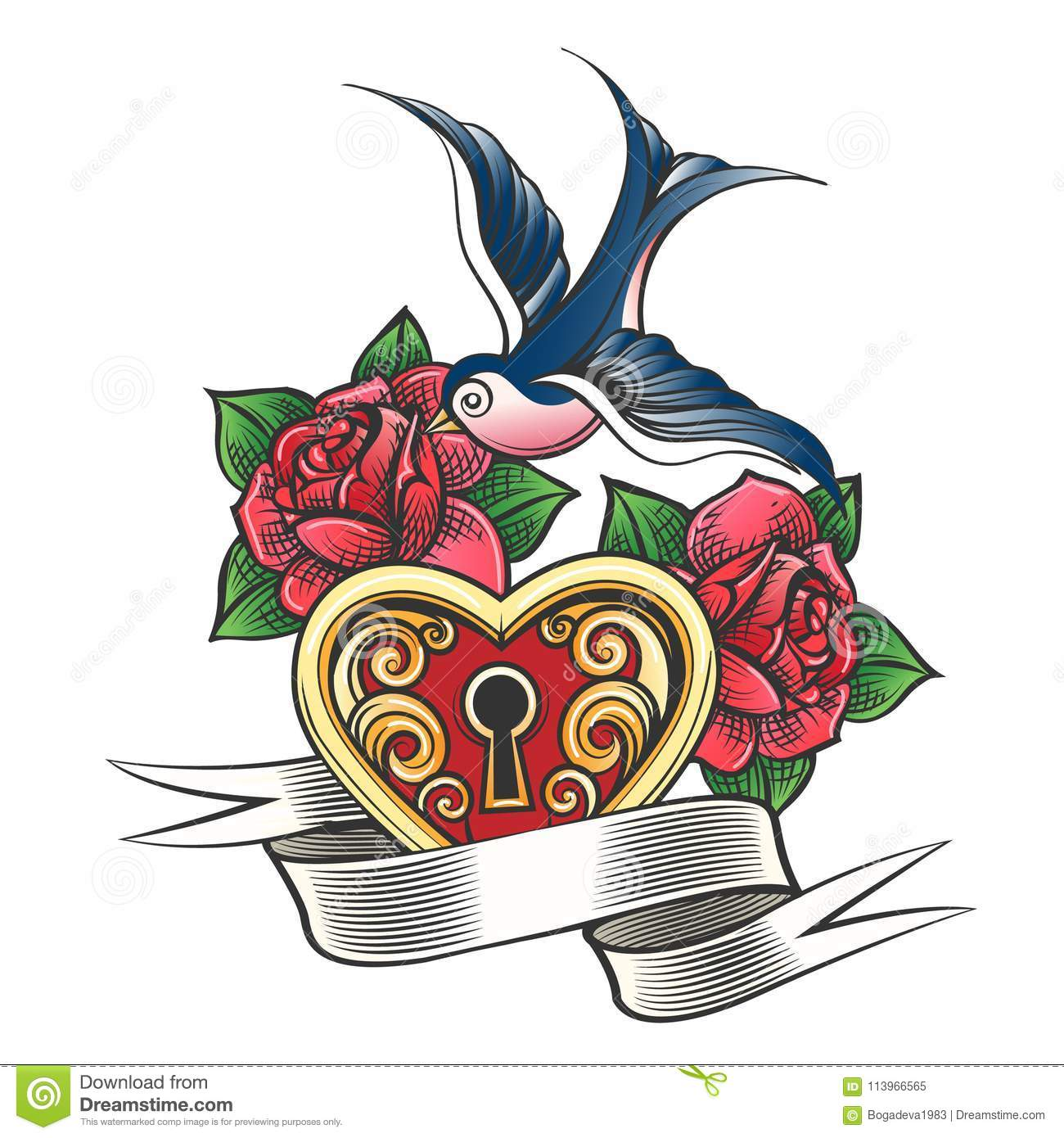 Swallow With Rose And Heart Tattoo Stock Illustration Illustration Of Heart Flower 113966565