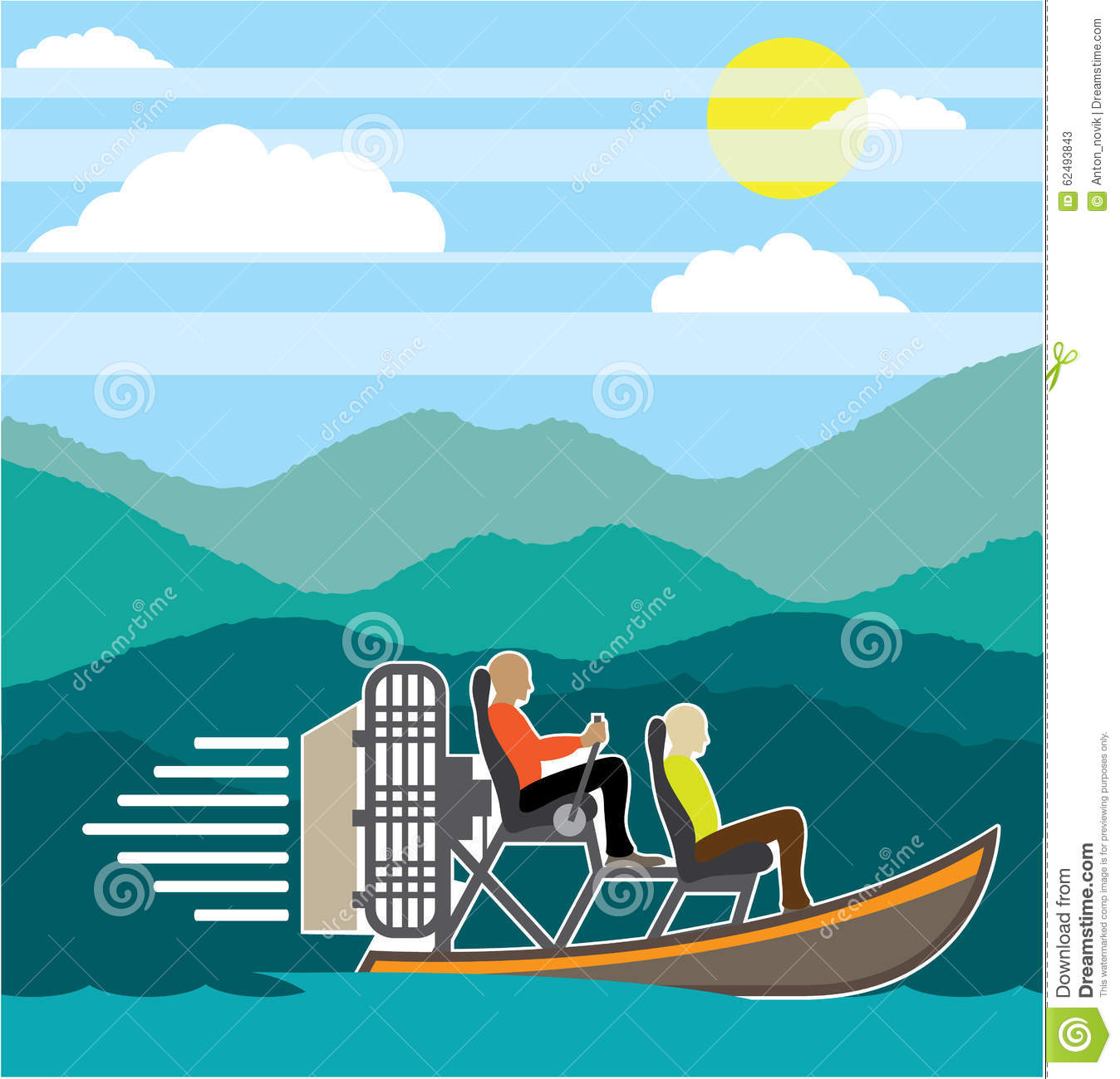 Swamp Boat ride AirBoat stock vector  Illustration of propeller