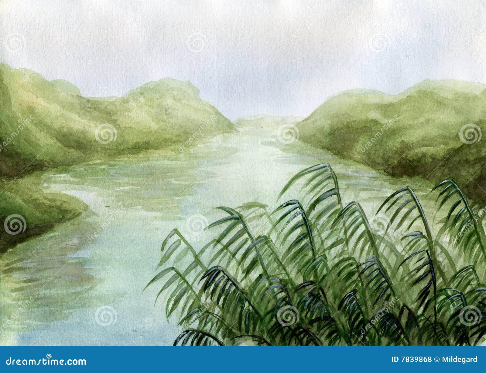 Swamp land - watercolor