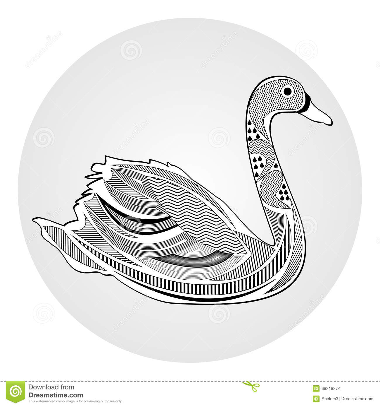 swan black and white drawing with hatched and patterned body parts