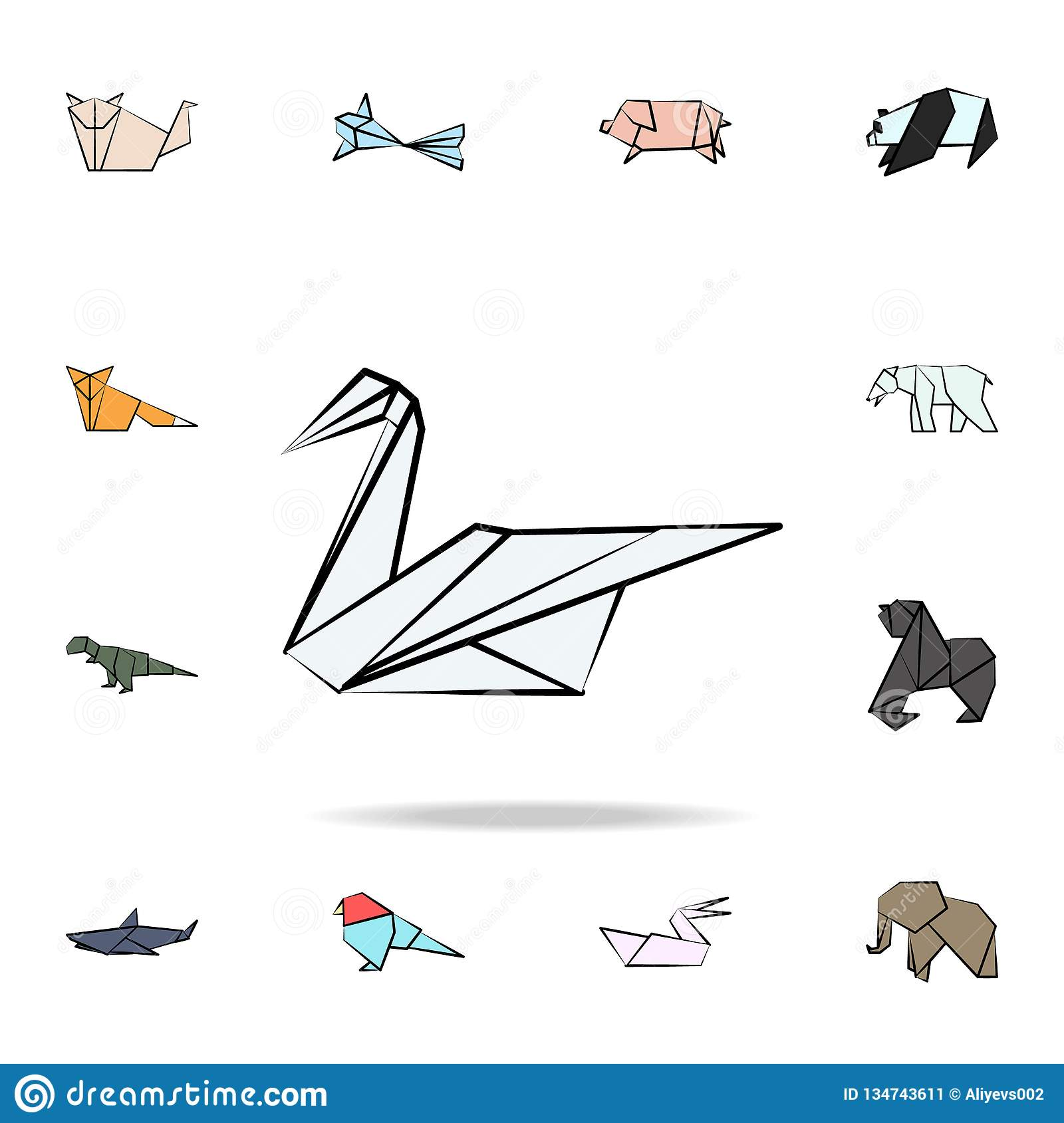 swan colored origami icon. Detailed set of origami animal in hand drawn style icons. Premium graphic design. One of the collection