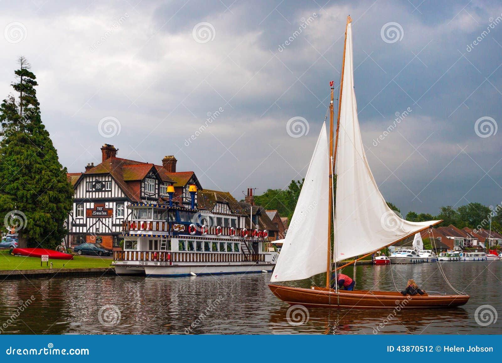 Swan Inn Sail Boat 0320 Editorial Photography Image