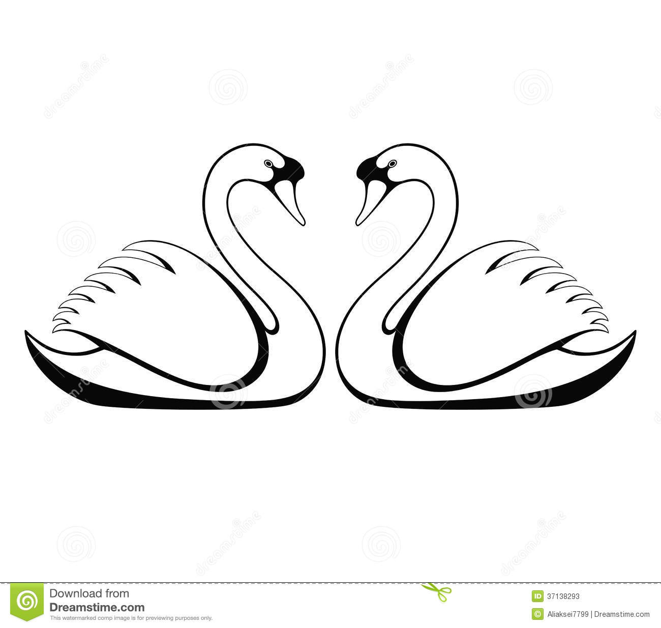 Two Swans Clipart