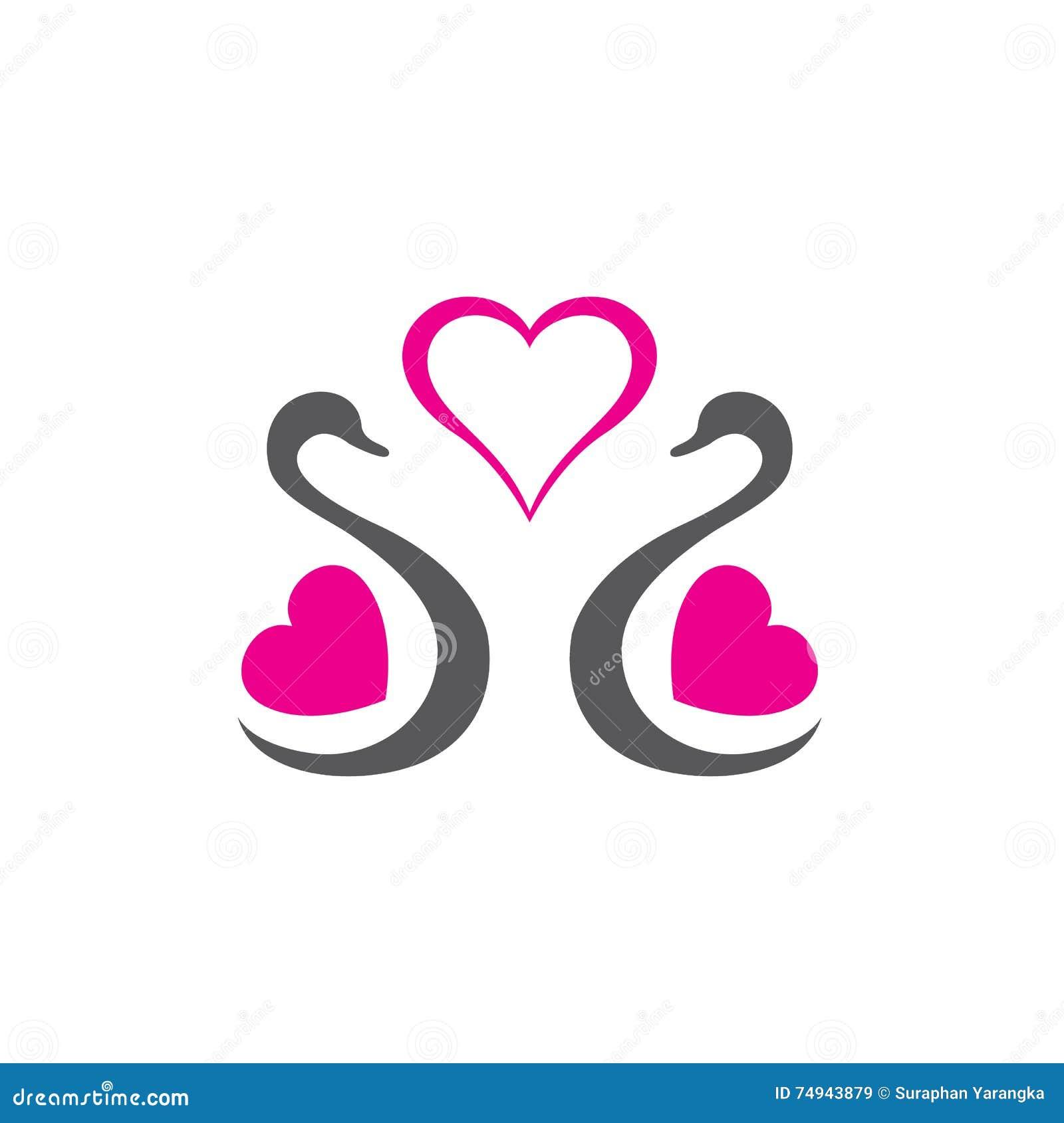 Swan in love logo stock vector image of swan vector for Love home designs