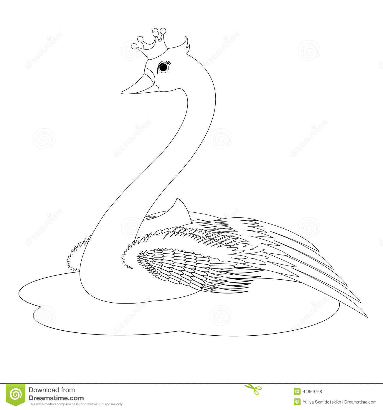 The Swan Princess Coloring Book Page Stock Vector Illustration Of