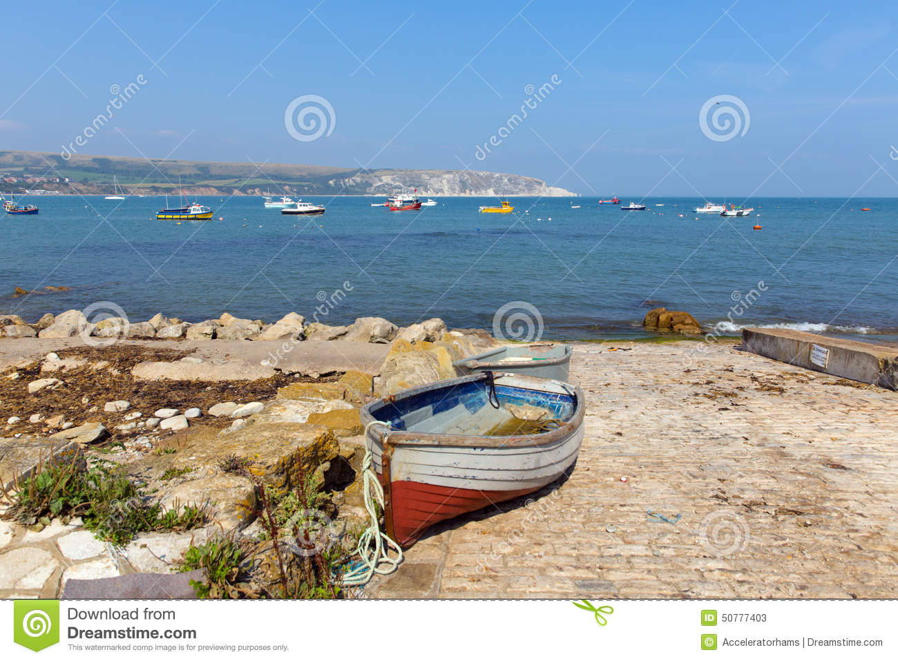 Swanage Dorset England UK With Boat Sea And Coast In Summer Stock ...