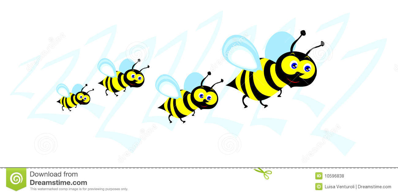 Funny illustration depicting a small swarm of bees in cartoon style.