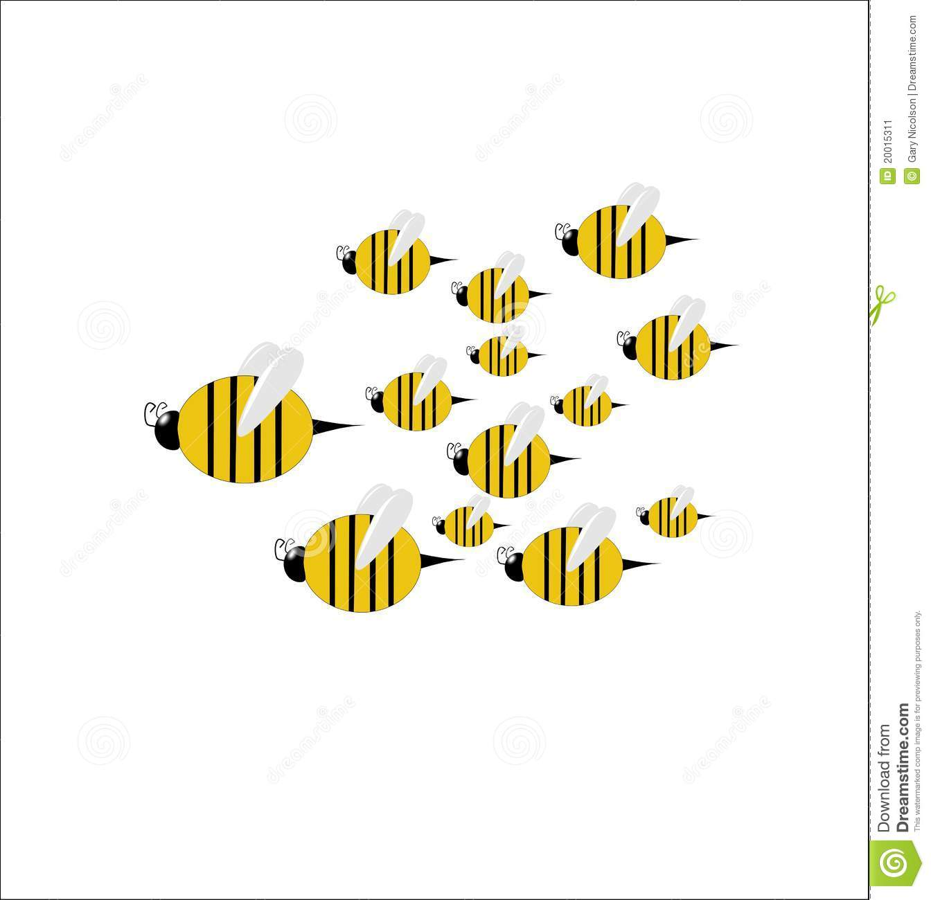 Swarm of large and small bees on white illustration clip art.
