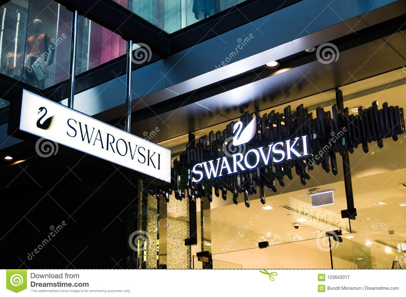 Swarovski Austrian producer of crystal store, the image shows the logo of it, located in Sydney CBD.