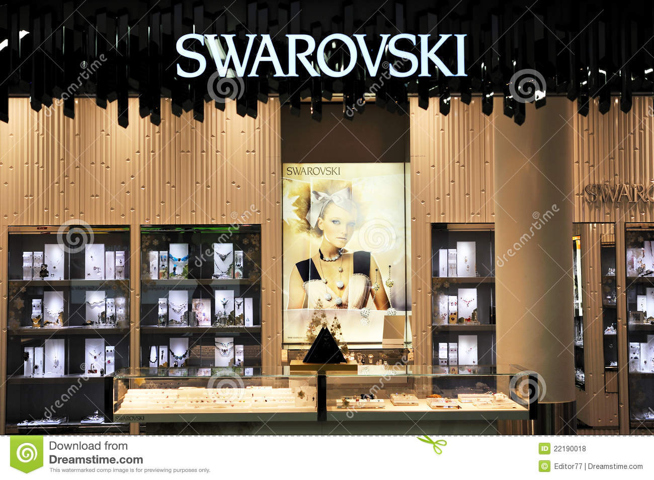 Swarovski Jewelry Store Illuminated Editorial Stock Photo - Image of ... 9cbd74acd6