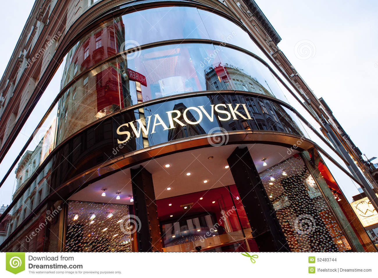 swarovsky store logo on a shopping street in vienna austria editorial stock image image 52483744. Black Bedroom Furniture Sets. Home Design Ideas