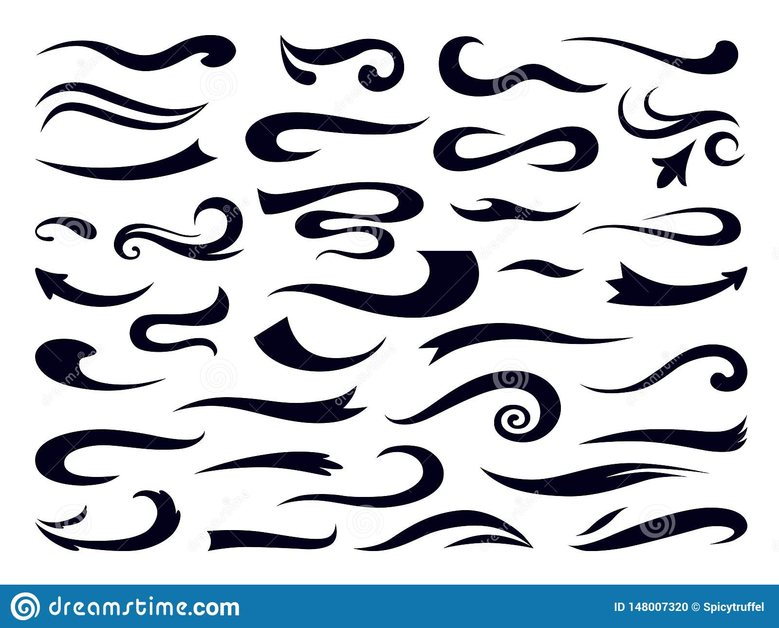 Swashes och swooshes Lockiga virvelbeståndsdelar, retro typografi understryker designmallen, stilsorten som märker brytning vekto