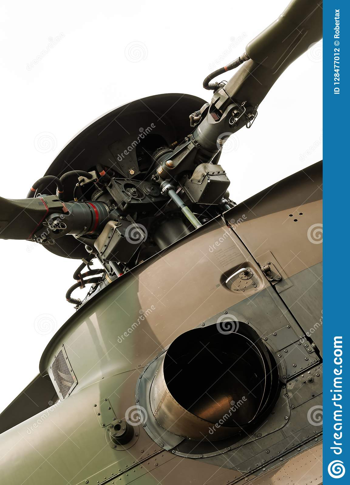 Swashplate Of Helicopter Main Rotor And Exhaust Pipe Engine
