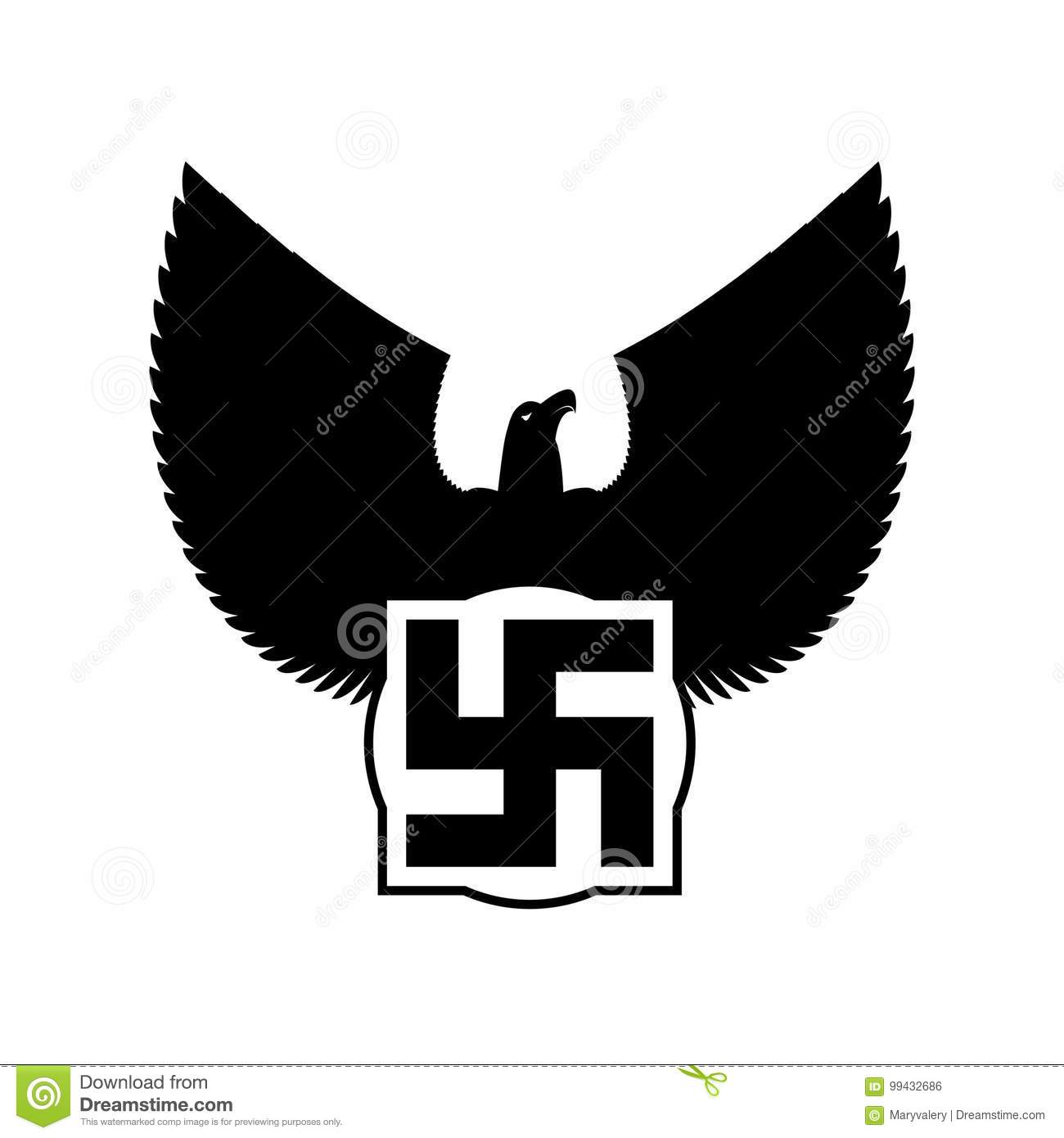 Swastika And Eagle Nazi Symbol Of Fascist Germany Vector Stock