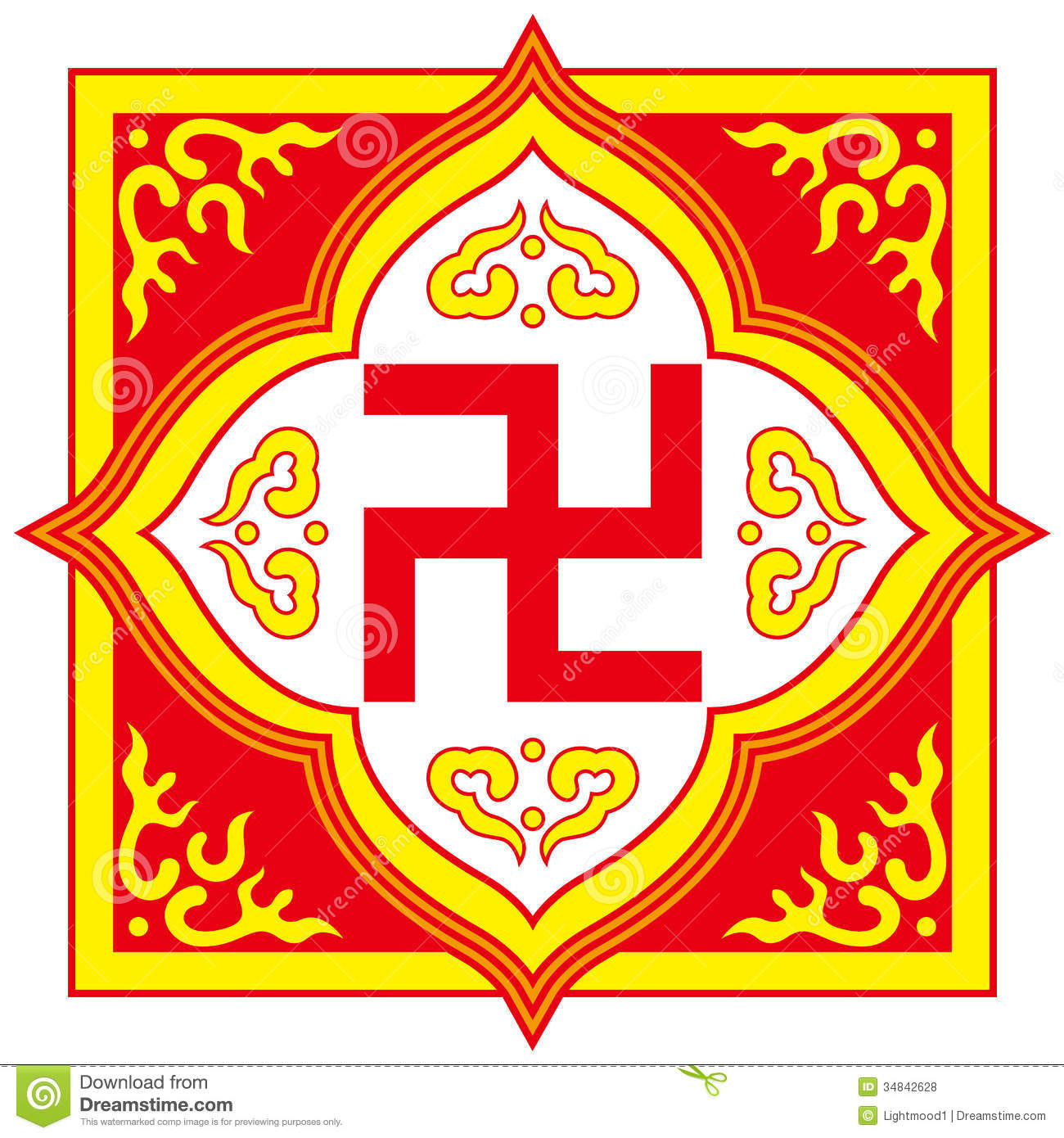 Swastika Symbol Buddhist Tradition Pattern Stock Vector
