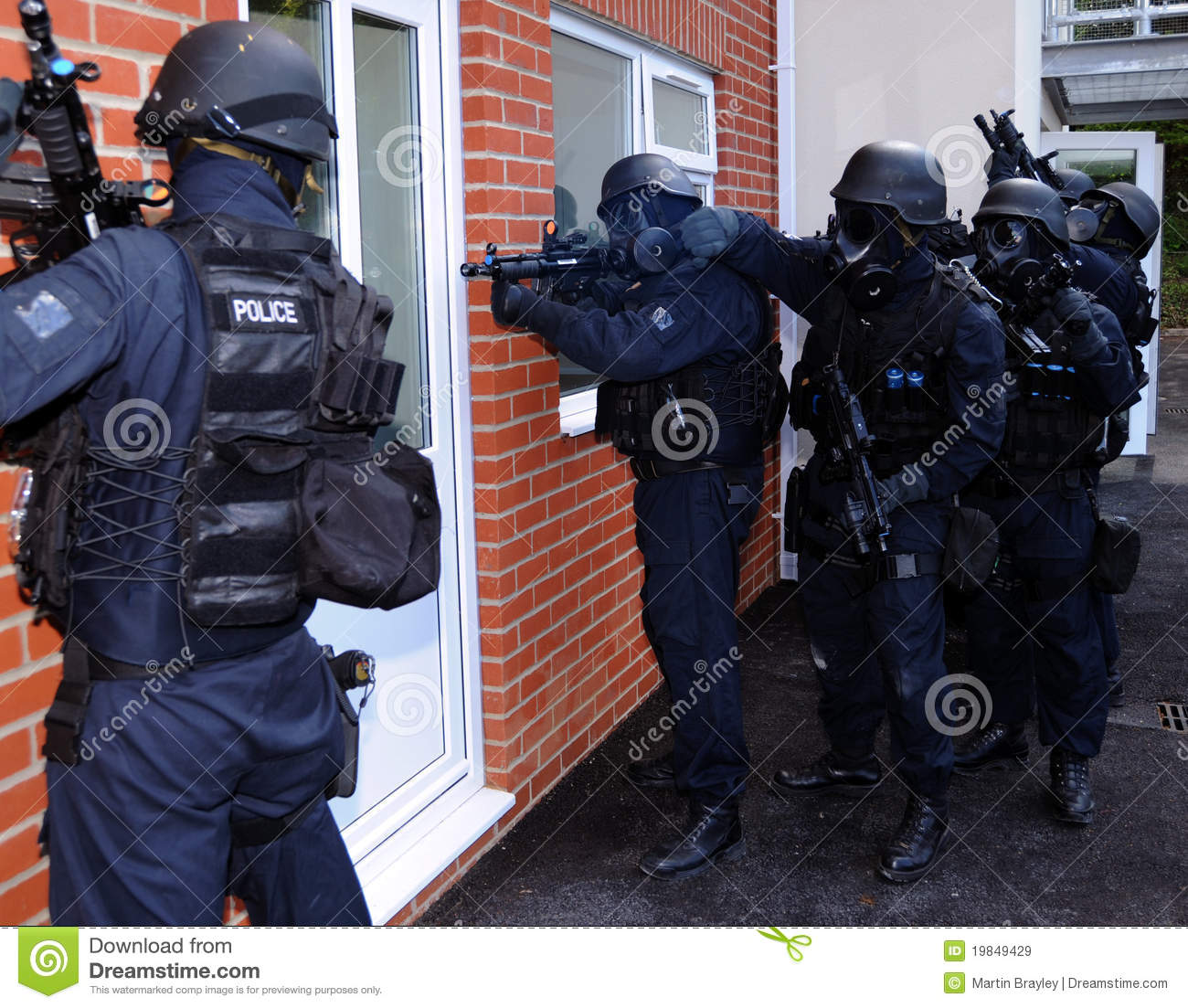 Police SWAT house entry stock image. Image of armed ...