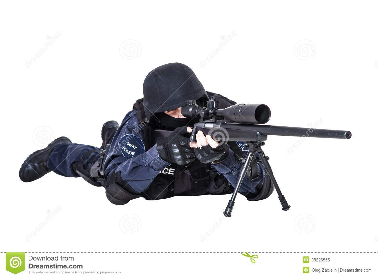 Swat Officer With Sniper Rifle Stock Image Image Of Rifle